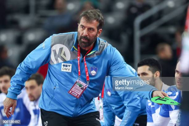 Head coach Veselin Vujovic of Slovenia reacts during the Men's Handball European Championship Group C match between Montenegro and Slovenia at Arena...