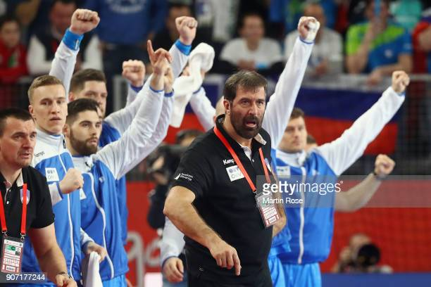Head coach Veselin Vujovic of Slovenia reacts during the Men's Handball European Championship main round group 2 match between Slovenia and Denmark...