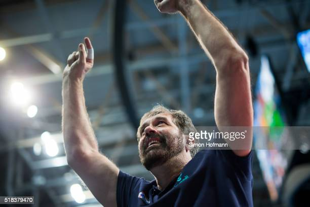 Head coach Veselin Vujovic of Zagreb celebrates winning after the Velux EHF Champions League Round of 16 second leg match between RheinNeckar Loewen...