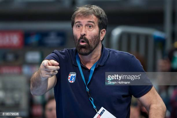 Head coach Veselin Vujovic of Zagreb gestures during the Velux EHF Champions League Round of 16 second leg match between RheinNeckar Loewen and RK...