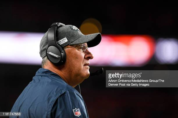 Head coach Vic Fangio of the Denver Broncos walks the sidelines against the Kansas City Chiefs during the third quarter on Thursday, October 17, 2019.