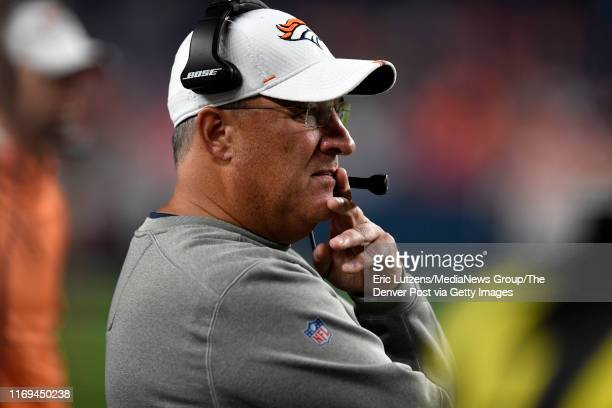 Head coach Vic Fangio of the Denver Broncos watches a play during the fourth quarter of the game on Monday August 19 at Broncos Stadium at Mile High...