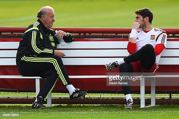Head coach Vicente Del Bosque chats with Iker Casillas of Spain of Spain during a Spain training session at Centro de Entrenamiento do Caju on June...