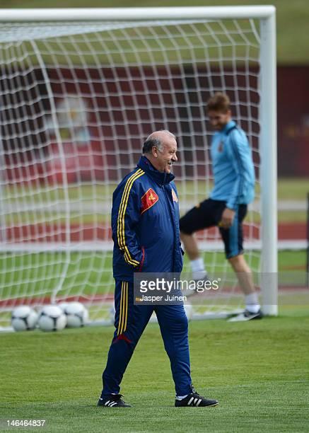 Head coach Vicente del Bosque looks on during a training session ahead of their UEFA EURO 2012 group C match against Croatia on June 17 2012 in...