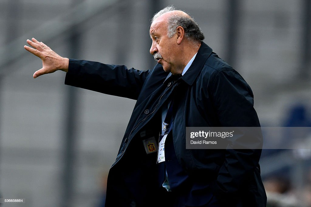 Head coach Vicente Del Bosque of Spain directs his players during an international friendly match between Spain and Korea at the Red Bull Arena stadium on June 1, 2016 in Salzburg, Austria.