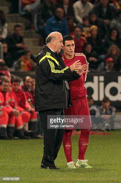 Head coach Vicente del Bosque of Spain gives instructions to Jose Callejon during the UEFA EURO 2016 Group C Qualifier football match between Spain...