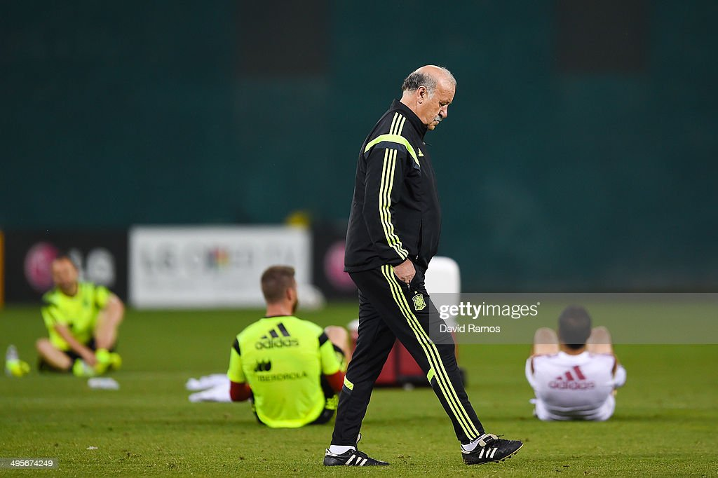 Head coach Vicente Del Bosque of Spain waks on the pitch during a training session of the Spain National Team at the Robert F. Kennedy Stadium on June 4, 2014 in Washington, DC.