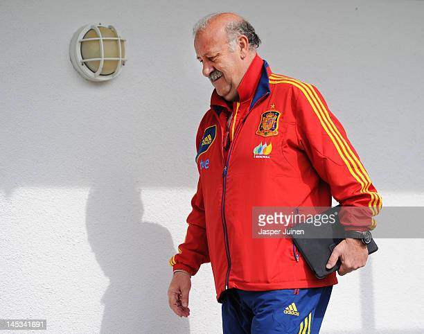 Head coach Vicente del Bosque of Spain walks past the players dressing room prior to a training session on May 27 2012 in Schruns Austria