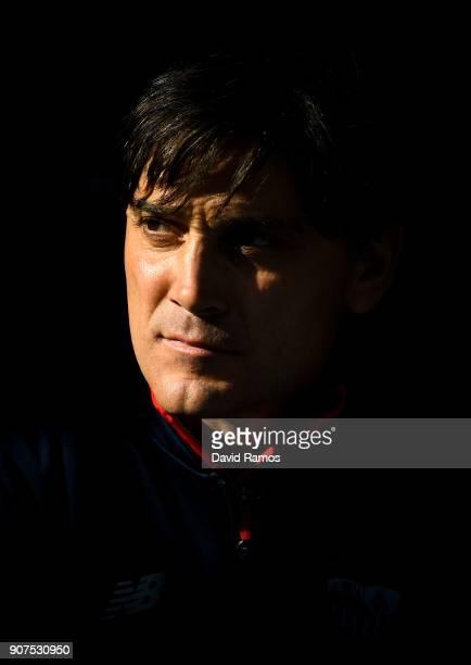 Head coach Vicenzo Montella of Sevilla FC looks on prior to the La Liga match between Espanyol and Sevilla at Nuevo Estadio de CornellaEl Prat on...