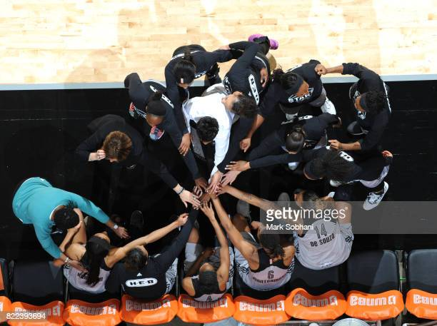 Head coach Vickie Johnson and the San Antonio Stars huddle before the game against the Washington Mystics on July 25 2017 at the ATT Center in San...