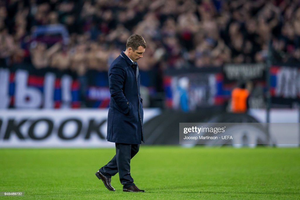 Head coach Viktor Goncharenko of CSKA Moskva looks dejected after the UEFA Europa League quarter final leg two match between CSKA Moskva and Arsenal FC at CSKA Arena on April 12, 2018 in Moscow, Russia.