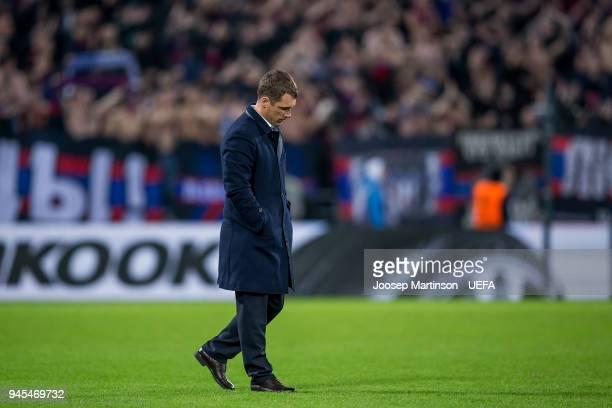 Head coach Viktor Goncharenko of CSKA Moskva looks dejected after the UEFA Europa League quarter final leg two match between CSKA Moskva and Arsenal...