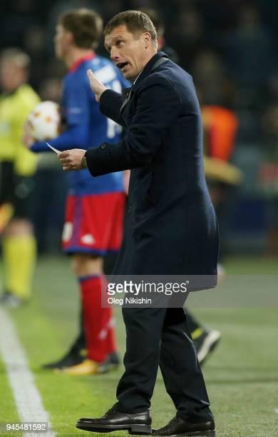 Head coach Viktor Goncharenko of CSKA Moskva reacts during the UEFA Europa League quarter final leg two match between PFC CSKA Moskva and Arsenal FC...