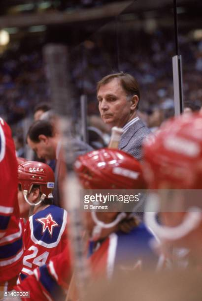 Head coach Viktor Tikhonov of CSKA Moscow looks on from behind the bench during the game against the New York Islanders on December 29, 1988 at the...