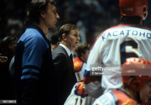 Head coach Viktor Tikhonov of CSKA Moscow looks on from the bench during the 1985-86 Super Series against the Montreal Canadiens on December 31, 1985...