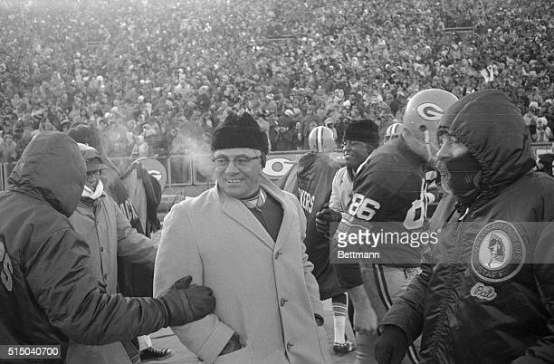 Head Coach Vince Lombardi of the Green Bay Packers is shown on the sidelines during a game against the Dallas Cowboys.