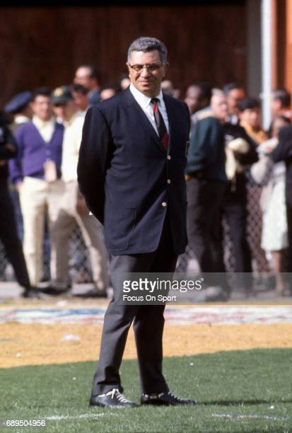 Head Coach Vince Lombardi of the Green Bay Packers looks on during pregame warmups prior to playing the Oakland Raiders in Super Bowl II January 14...