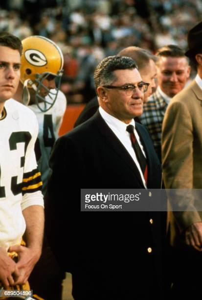 Head Coach Vince Lombardi of the Green Bay Packers looks on from the sidelines against the Oakland Raiders during Super Bowl II January 14 1968 at...