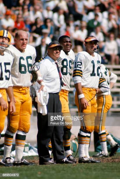Head coach Vince Lombardi of the Green Bay Packers looks on from the sidelines during an NFL game circa 1965 Lombardi coached the Packers from 195969