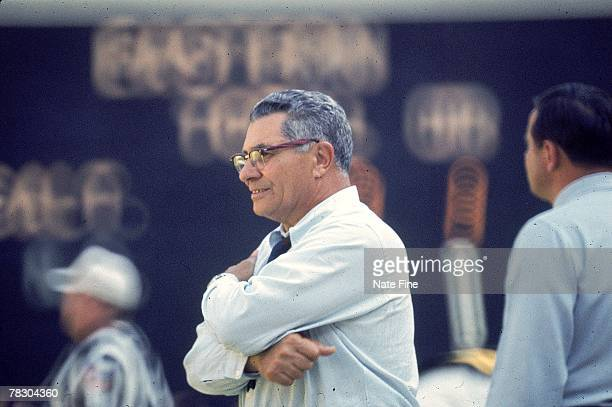 Head coach Vince Lombardi of the Washington Redskins watches from the sideline against the St Louis Cardinals at RFK Stadium on October 12 1969 in...