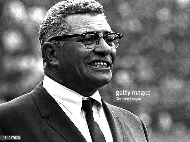 Head coach Vince Lombardi of the Washington Redskins watches game action from the sideline during a game against the Cleveland Browns on Sunday...