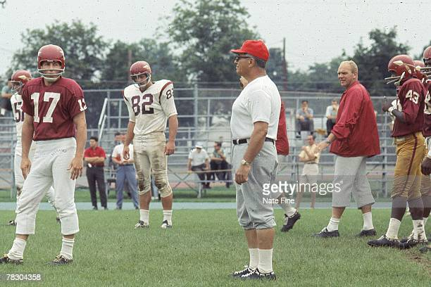 Head coach Vince Lombardi of the Washington Redskins watches his team practice during training camp on August 7 1969 in Washington DC