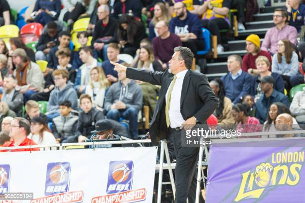 Head coach Vince Macaulay of London Lions gestures during the British Basketball League match between London Lions and Cheshire Phoenix at Copper Box...