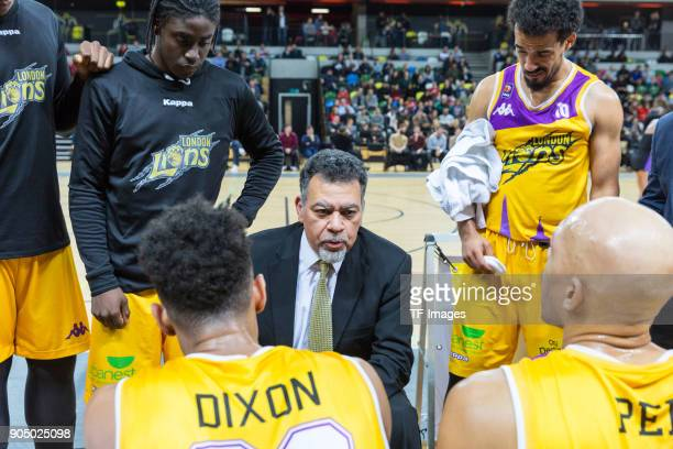 Head coach Vince Macaulay of London Lions speaks to his players during the British Basketball League match between London Lions and Cheshire Phoenix...