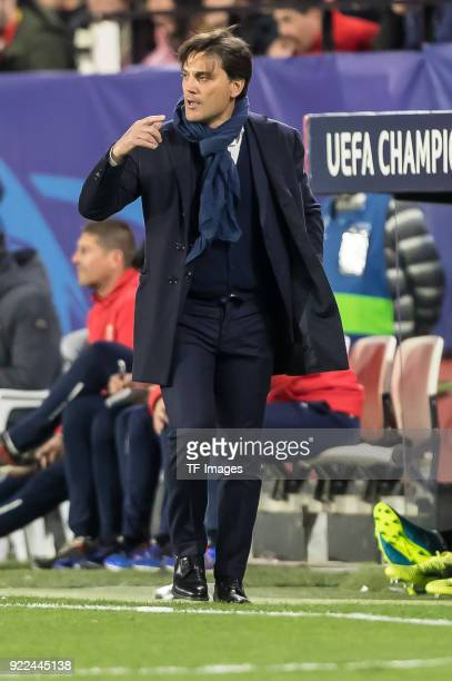 Head coach Vincenzo Montella of Sevilla gestures during the UEFA Champions League Round of 16 First Leg match between Sevilla FC and Manchester...