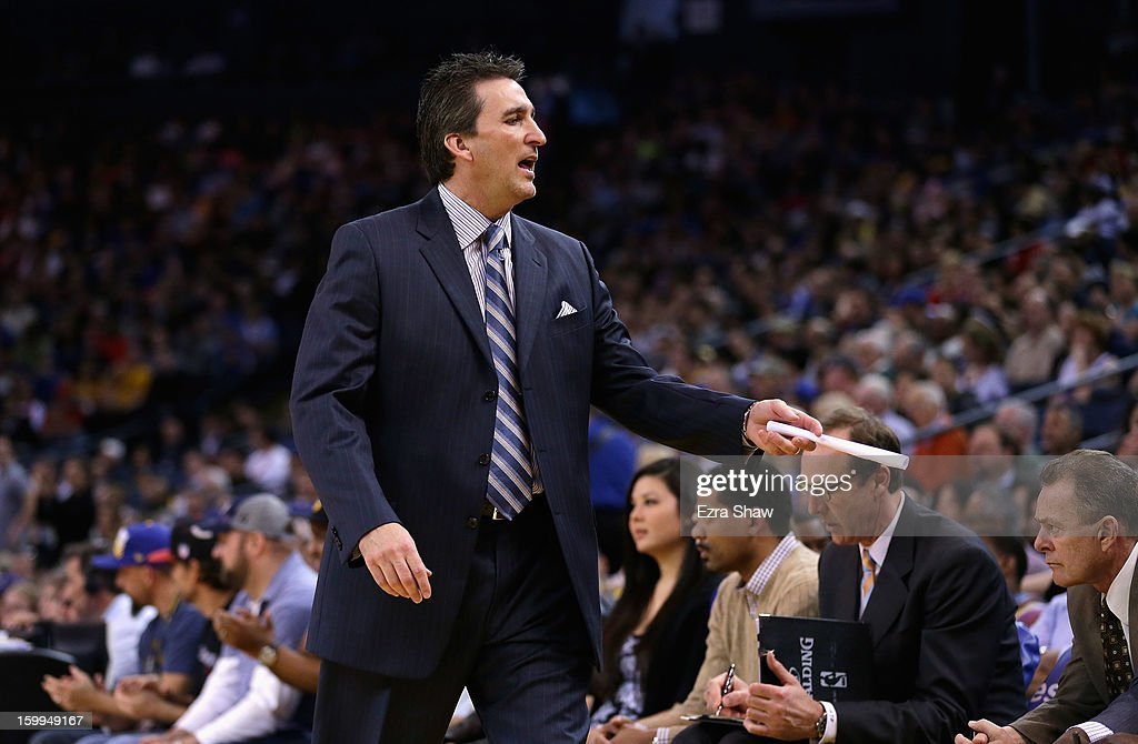 Head coach Vinny Del Negro of the Los Angeles Clippers on the sideline during their game against the Golden State Warriors at Oracle Arena on January 21, 2013 in Oakland, California.