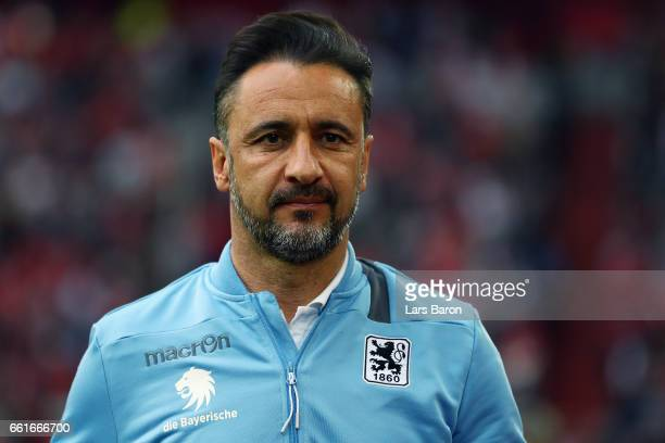 Head coach Vitor Pereira of 1860 Muenchen looks on prior to the Second Bundesliga match between Fortuna Duesseldorf and TSV 1860 Muenchen at...