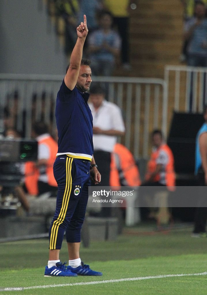 Head coach Vitor Pereira of Fenerbahce reacts during UEFA Champions League Third Qualifying Round 1st Leg match between Fenerbahce and Shakhtar Donetsk at Sukru Saracoglu Stadium in Istanbul, Turkey, July 28, 2015.