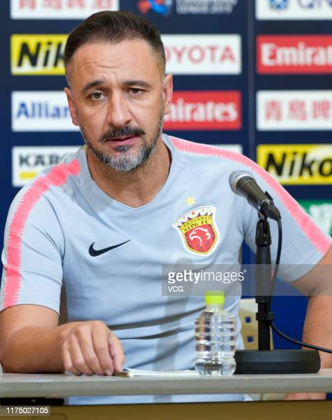 Head coach Vitor Pereira of Shanghai SIPG attends a press conference before the AFC Champions League quarterfinal 2nd leg match between Urawa Red...