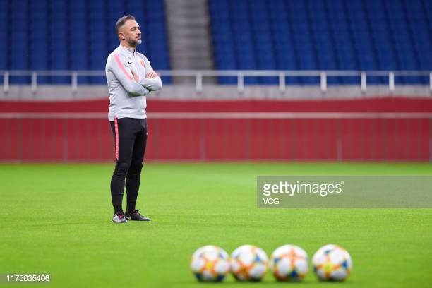 Head coach Vitor Pereira of Shanghai SIPG attends a training session before the AFC Champions League quarterfinal 2nd leg match between Urawa Red...