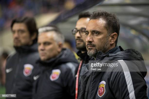 Head coach Vitor Pereira of Shanghai SIPG looks on during the 2018 Chinese Super League match between Shanghai Greenland Shenhua and Shanghai SIPG at...