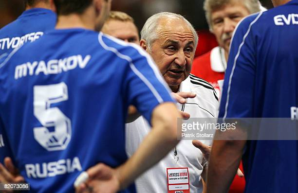 Head coach Vladimir Maksimov of Russia gestures during the international friendly handball match between Germany and Russia at the Lanxess arena on...