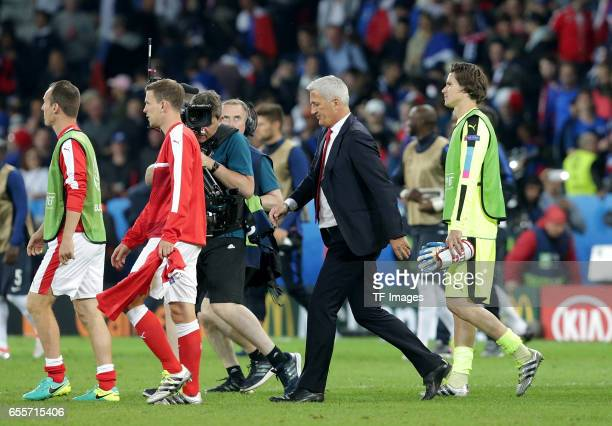 Head coach Vladimir Petkovic of Switzerland looks on during the UEFA Euro 2016 Group A match between the Switzerland and France at Stade PierreMauroy...