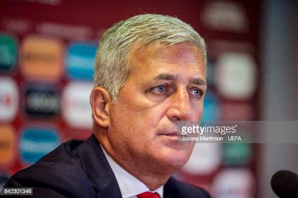 Head coach Vladimir Petkovic of Switzerland speaks to the media after the FIFA 2018 World Cup Qualifier between Latvia and Switzerland at Skonto...