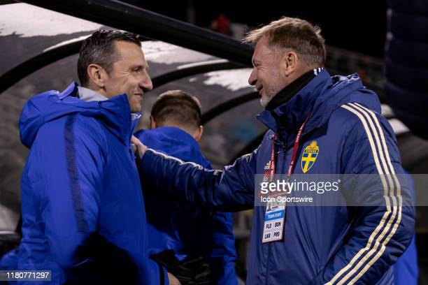 Head coach Vlatko Andonovski of the United States and Head coach Peter Gerhardsson of Sweden greet each other before game action of an international...