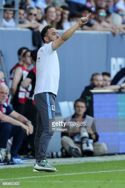 Head coach Vítor Pereira of 1860 Munich gestures during the Second Bundesliga Playoff first leg match between Jahn Regensburg and TSV 1860 Muenchen...
