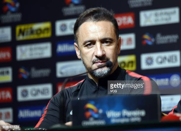 Head coach V¨ªtor Pereira of Shanghai SIPG attends a press conference after the AFC Champions League Group F match between Shanghai Shenhua and Ulsan...