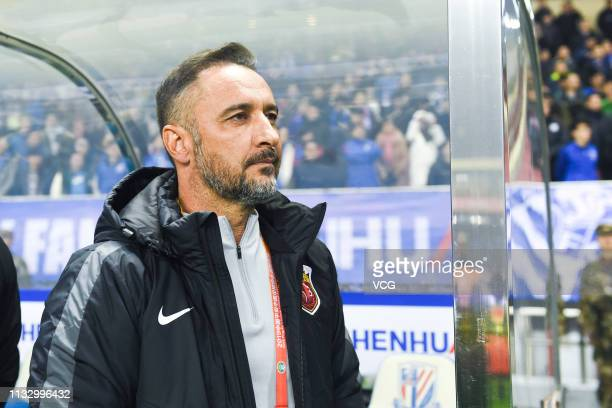 Head coach Vítor Pereira of Shanghai SIPG looks on during the first round match of 2019 Chinese Football Association Super League between Shanghai...