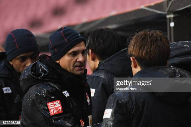Head coach Wagner Lopes of Albirex Niigata shows dejection after his team's relegation to the J2 despite their 10 victory in the JLeague J1 match...