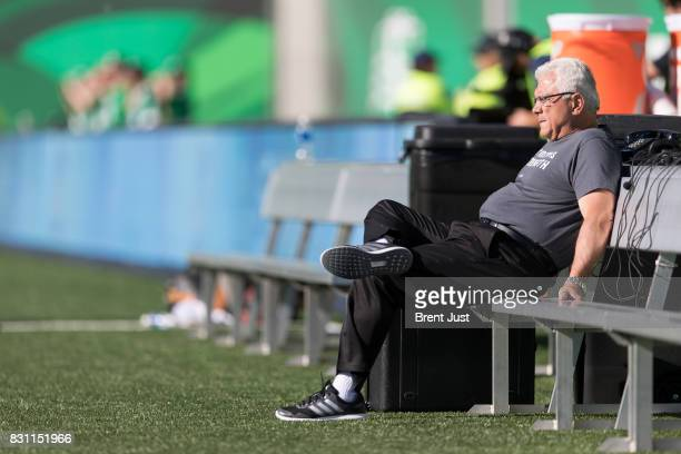 Head coach Wally Buono of the BC Lions relaxes on the sideline before the game between the BC Lions and the Saskatchewan Roughriders at Mosaic...