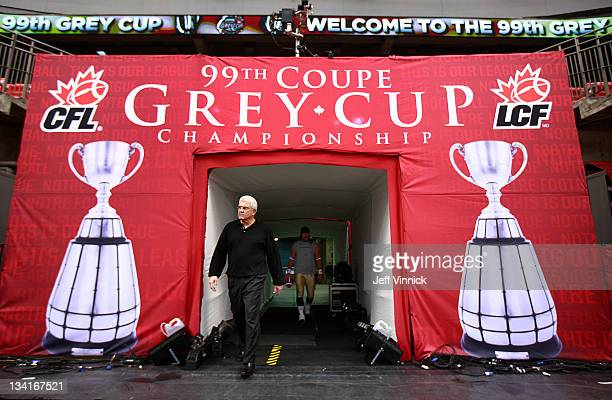 Head coach Wally Buono of the BC Lions walks onto the field prior to the start the CFL 99th Grey Cup against the Winnipeg Blue Bombers November 27...