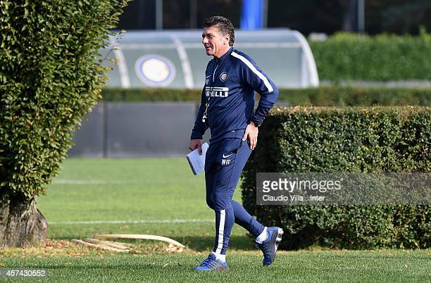 Head coach Walter Mazzarri during FC Internazionale Training Session at Appiano Gentile on October 18 2014 in Como Italy