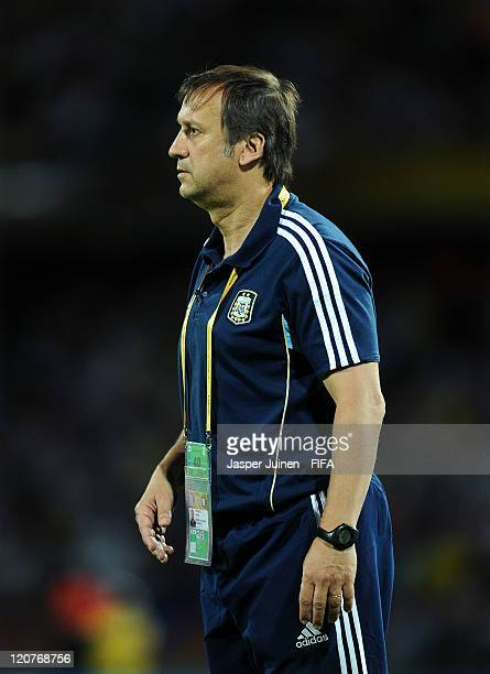 Head coach Walter Perazzo of Argentina follows the game during the FIFA U20 World Cup Colombia 2011 round of 16 match between Argentina and Egypt at...
