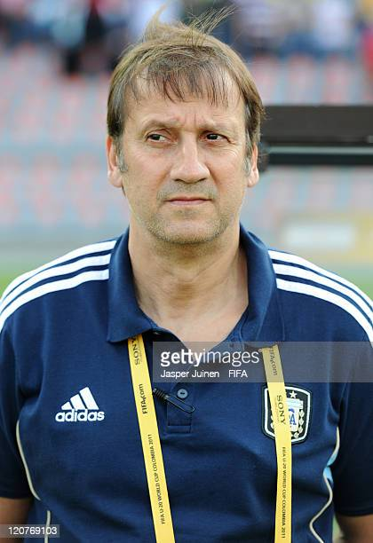 Head coach Walter Perazzo of Argentina looks on during the FIFA U20 World Cup Colombia 2011 round of 16 match between Argentina and Egypt at the...