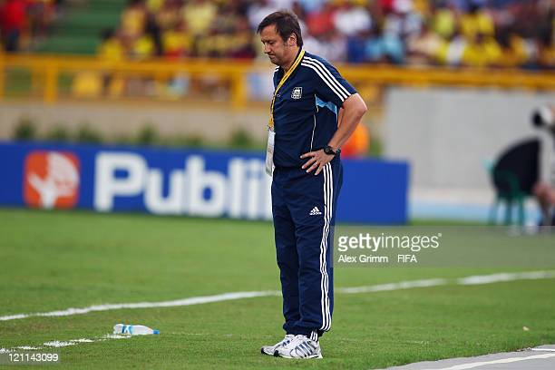 Head coach Walter Perazzo of Argentina reacts during the FIFA U20 World Cup 2011 quarter final match between Portugal and Argentina at Estadia Jaime...