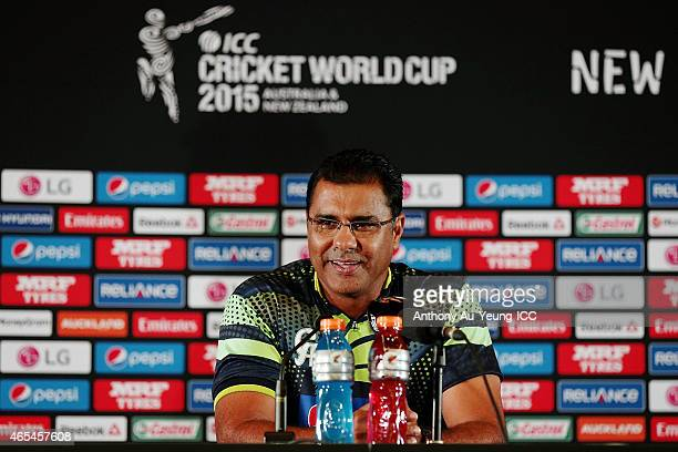 Head Coach Waqar Younis of Pakistan fronts the media at the press conference after the 2015 ICC Cricket World Cup match between South Africa and...